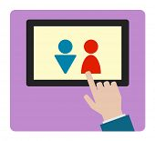 hand icon with tablet computer man woman sign design