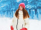 Winter And People Concept - Pretty Woman Outdoors In Snowy Forest