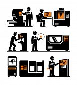 Industrial machine worker operator vector icons