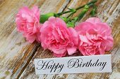Happy birthday card with pink carnations on rustic wooden surface