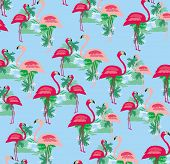 Seamless Flamingo Bird Pattern