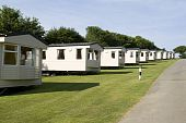 stock photo of trailer park  - Static caravans standing on a camping site - JPG