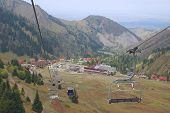 View to the Shymbulak ski station from the cable car in Almaty, Kazakhstan.