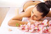beautiful woman in a massage salon
