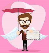 Angel Man-hipster with an umbrella Wings and Letter