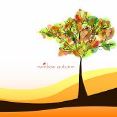 Abstract Nature Background With Tree. Golden Autumn