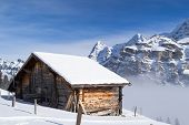 Old farm house in the Swiss Alps