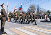 Banner group of russian army division on parade