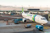 Transavia Airlines Boeing 737-700 Parked At Terminal For Loading And Maintenance Operations