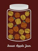 Glass jar with yellow and orange apples. Harvest postcard. Vector illustration.