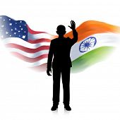 illustration of man waving hand showing India-America relationship