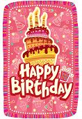 Happy birthday card with Birthday cake