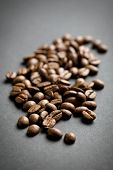 the coffee beans on black background