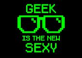 picture of dork  - Geek Is the new sexy in pixel and computer screen style with glasses - JPG