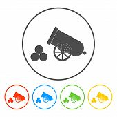 pic of cannon-ball  - retro cannon Flat vector illustrator Eps 10 - JPG