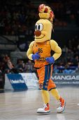 VALENCIA, SPAIN - JANUARY 21: Valencia Team mascot during Eurocup match between Valencia Basket Club and CSU Asesoft at Fonteta Stadium on January 21, 2015 in Valencia, Spain