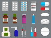 Tablets and medicine flat icons set