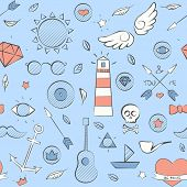 Sea Doodle Seamless Hipster Pattern Over Light Blue