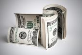 Twisted United States Dollars. Hundred Usd Banknotes