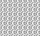 Seamless Pattern With Black Swirls (waves