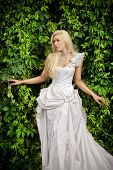Attractive Blonde Bride In Luxury Clothes