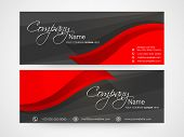 Business headers with company's name, slogan and contact details.