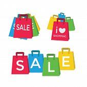 Color shopping bags - sale concept