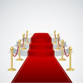 Vector podium with red carpet