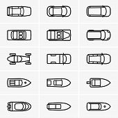 Cars and boats top view