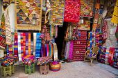 Colorful Fabrics On The Agadir Market In Morocco