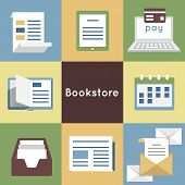 Vector Flat Concept Of Bookstore - Mobile Service. Online Bookstore, Online Book Shopping