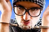 picture of feeling stupid  - Man with glasses in studio shooting  - JPG