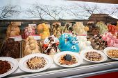 Barcelona, Spain - Feb 9, 2014: Showcase Of Ice Cream In Window Display At Rambla Street In Barcelon
