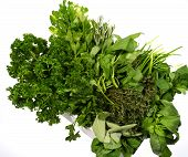 A casket with fresh green herbs