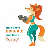 Beautiful fox athlete with dumbbell