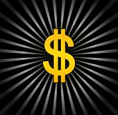 Black background with gold dollar