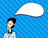thinking man on blue background