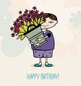 boy with a huge bouquet of flowers. birthday card. eps8