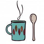 cup and teaspoon. retro style