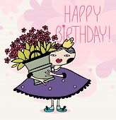 girl with a huge bucket with flowers. birthday card. eps8