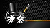 magical show with top hat, magic wand and hand