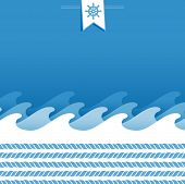 blue and white marine background with rope and sea wave