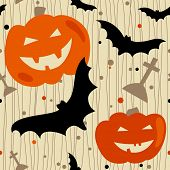 Halloween seamless pattern with bat, pumpkin and tombstone. eps 8