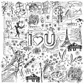 foto of ring-dove  - Vector sketch background with love story elements - JPG