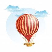 Image of the balloon in a strip in the clouds.