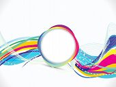 Abstract Artistic Colorful Line Wave With Circle Background