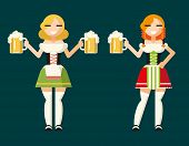 Oktoberfest Girls Female Characters Icons Traditional Costumes with Accessories Flat Design Card Vec