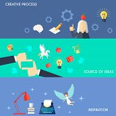 stock photo of muse  - Muse flat horizontal banner set with creative process source of ideas inspiration elements isolated vector illustration - JPG