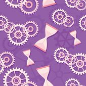 Seamless pattern of hourglass and gears.
