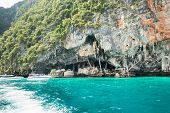 Viking Cave Where Bird's Nests (swallow) Collected. Phi-phi Leh Island In Krabi, Thailand.